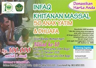Khitanan Massal 50 Anak Yatim & Dhuafa Dalam Milad Ke 10 Prodi. Magister Manajemen Pascasarjana UIKA Bogor